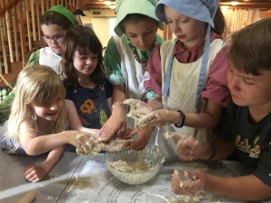 Children playing with dough