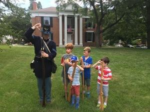 Children with a soldier