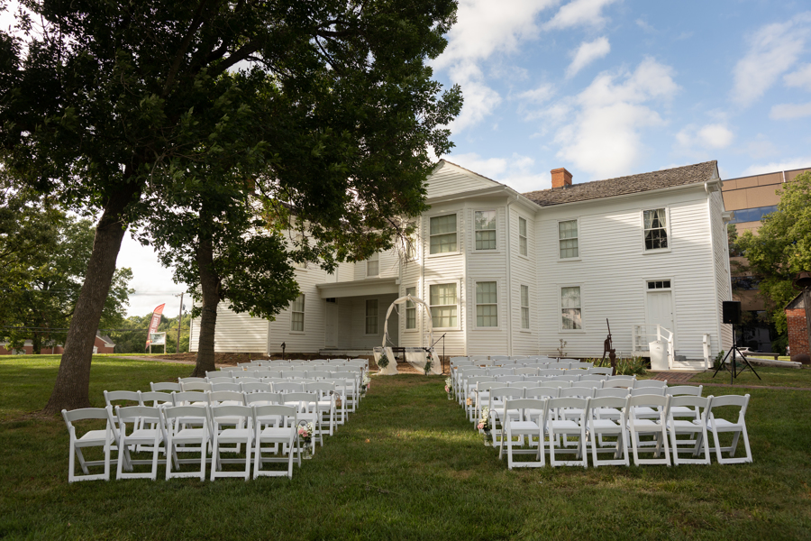 Chairs on lawn of Majors House